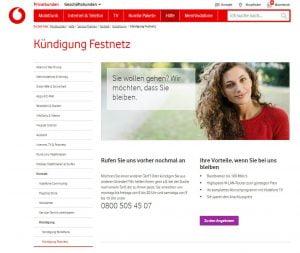 Vodafone Festnetz Kündigung