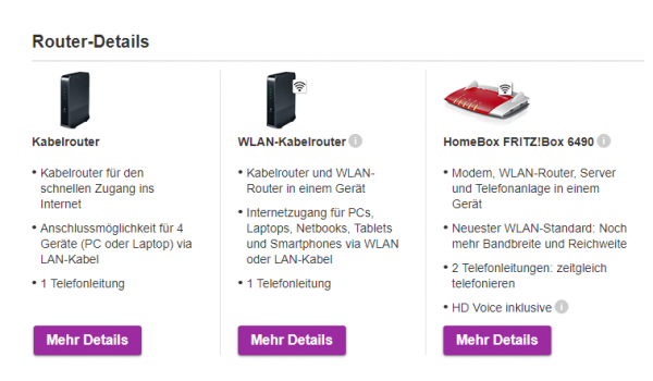 Vodafone Hardware: WLAN-Kabelrouter oder HomeBox FRITZ!Box 6490
