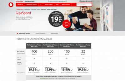 Vodafone Kabel Webseite