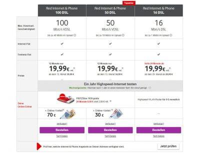Vodafone Internet- und Phone-Tarife in der Übersicht